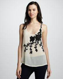 Haute Hippie Floral-Embroidered Sheer Tank - Lyst