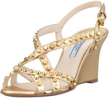 Prada Studded Open toe Strappy Wedge  - Lyst
