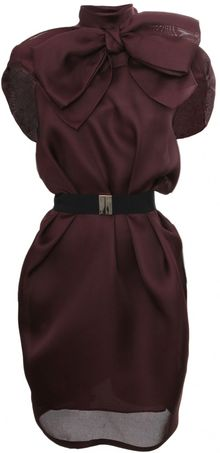 Viktor & Rolf Belted Bow Silk Dress Maroon - Lyst