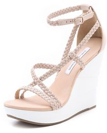 Diane Von Furstenberg Olive Braided Wedge Sandals - Lyst
