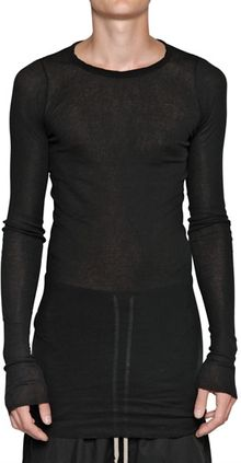 Rick Owens Ribbed Cotton Long Sleeved T-shirt - Lyst