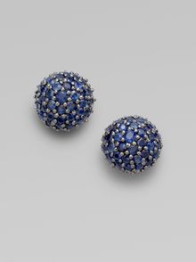 M.c.l By Matthew Campbell Laurenza Pavé Sapphire Half Ball Stud Earrings - Lyst