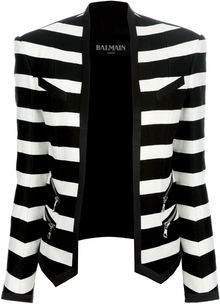 Balmain Striped Cropped Blazer - Lyst