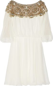 Marchesa Embellished Silk chiffon Dress - Lyst