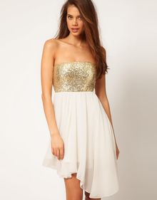 ASOS Collection Sequin Bandeau Dress with Chiffon Skirt - Lyst