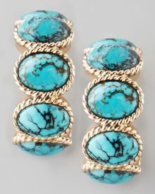 Stephen Dweck Turquoise Cabochon Hoop Earrings - Lyst