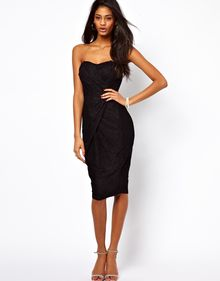 ASOS Collection Bandeau Midi Dress in Lace - Lyst
