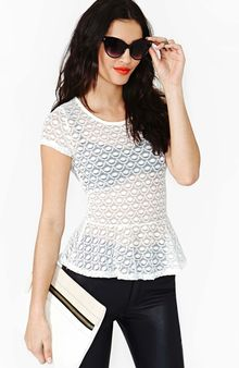Nasty Gal Scallop Lace Peplum Top - Lyst