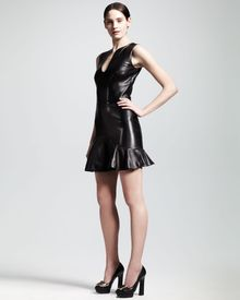 Alexander McQueen Tear-drop-neck Leather Flounce Dress - Lyst