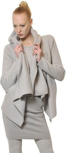 Donna Karan New York Hooded Boiled Cashmere Knit Jacket - Lyst