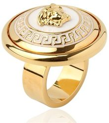 Versace Medusa Gold Plated Metal Ring - Lyst
