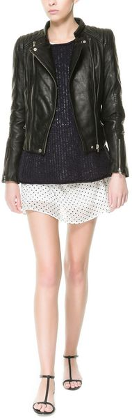 Zara Biker Jacket with Zips - Lyst