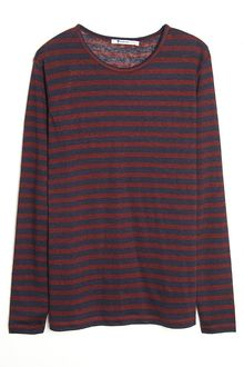 T By Alexander Wang Linen Stripe Long Sleeve Tee - Lyst