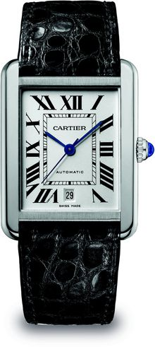 Cartier Extralarge Stainless Steel Rectangular Strap Watch - Lyst