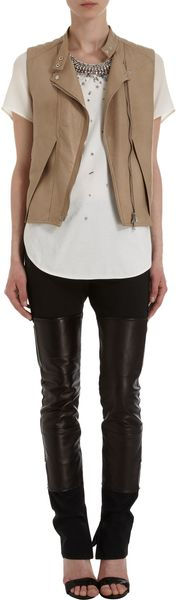 3.1 Phillip Lim Cutout Layered Front Leather Vest - Lyst