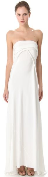 Donna Karan New York Bustier Evening Gown with Cascading Folded Back - Lyst