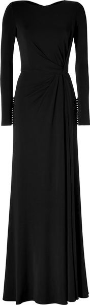 Elie Saab Side Draped Gown in Black - Lyst