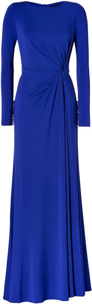 Elie Saab Side Draped Gown in Indigo Blue - Lyst