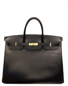 Hermes 40cm Black Box Birkin with Gold - Lyst