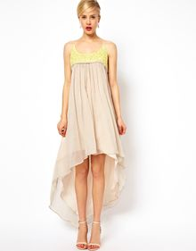 Asos Dipped Hem Maxi Dress with Embellished Top - Lyst