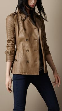 Burberry Leather Biker Trench Jacket - Lyst