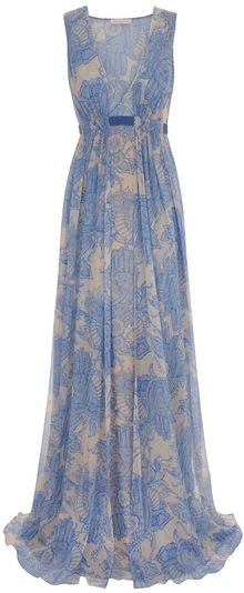 Matthew Williamson Henna Georgette Scarf Draped Gown - Lyst