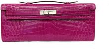 Hermes Rose Sheherazade Shiny Niloticus Crocodile Kelly Cut with Palladium - Lyst