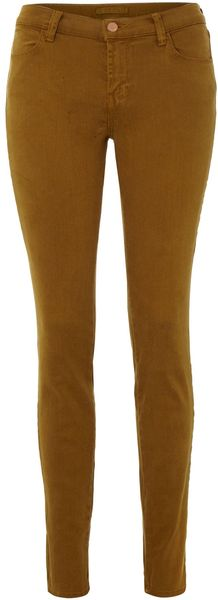 J Brand Mid Rise Super Skinny Coloured Jean - Lyst
