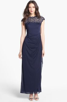 Alex Evenings Lace Yoke Faux Wrap Mesh Gown - Lyst