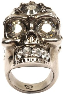 Alexander McQueen Glory Crystal Skull Cocktail Ring - Lyst