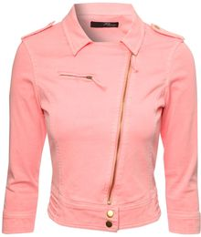 Jane Norman Coloured Twill Biker Jacket - Lyst