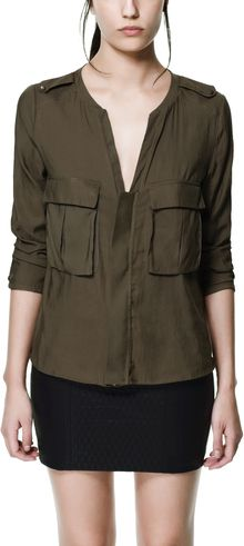 Zara Safari Shirt with Pockets - Lyst