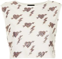 Topshop Heart Glitter Crop Top - Lyst