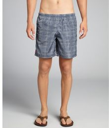 Prada Navy and Sky Blue Check Swim Trunk - Lyst