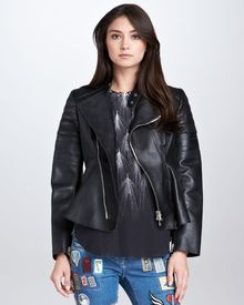 3.1 Phillip Lim Leather Motorcycle Peplum Jacket  - Lyst
