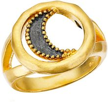 Satya Jewelry Gunmetal and Gold Moon Ring - Lyst