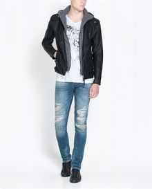 Zara Biker Jacket with Detachable Hood - Lyst