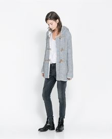 Zara Duffle Coat with Sheepskin Hood - Lyst