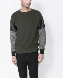 Zara Sweatshirt with Contrasting Faux Leather On The Sleeves - Lyst