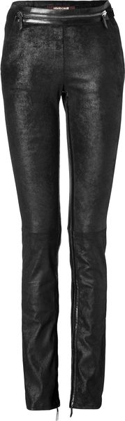 Roberto Cavalli Leather Pants in Black - Lyst
