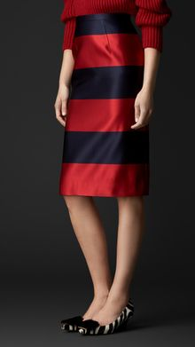 Burberry Duchess Silk Satin Pencil Skirt - Lyst