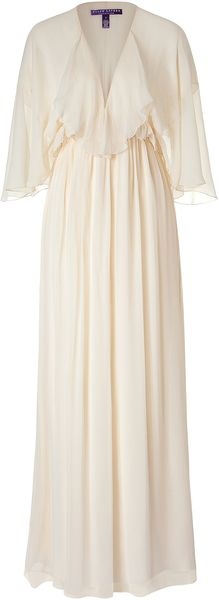 Ralph Lauren Collection Chandra Champagne Beaded Crinkle Chiffon Dress - Lyst