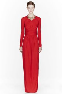Alexander McQueen Red Jersey Crystal Embroidered Dress - Lyst