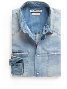 Mango Slimfit Medium Denim Shirt - Lyst