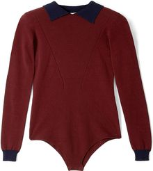 Body Editions Burgundy Contrast Collar Knit Body Top - Lyst