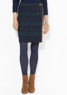 Lauren by Ralph Lauren Plaid Straight Skirt with Side Buckle - Lyst