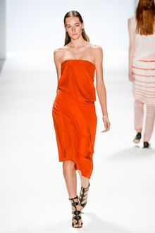 Richard Chai Spring 2014 Strapless Mid-Length Dress with Drapes - Lyst