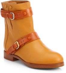Chloé Bicolor Leather Biker Boots - Lyst