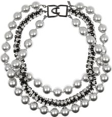 Kenneth Jay Lane Gunmetalplated Swarovski Crystal and Faux Pearl Necklace - Lyst