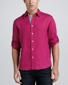 Michael Kors Collection Linen Shirt with Ribbon Trim Fuchsia - Lyst